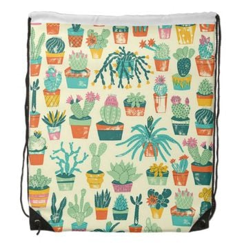 Colorful Cactus Flower Pattern Drawstring Backpack