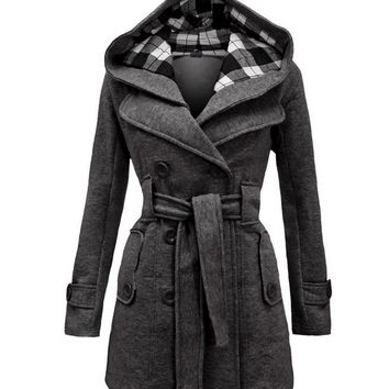 2016 New Designer Women Wool Blends Full Sleeve Oversized Coats Jackets Double Breasted Outwear Party Plus Size Winter Hooded