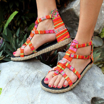 Boho Womens Gladiator Sandals In Bright Orange Hmong Embroidery Summer Shoes Isadora