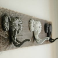 Elephant trio wall decor for hanging light jackets scarves or jewelry great kitchen decor bedroom decor entryway decor