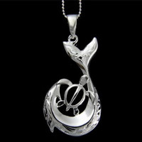 STERLING SILVER 925 HAWAIIAN SCROLL FISH HOOK HONU TURTLE PENDANT LARGE
