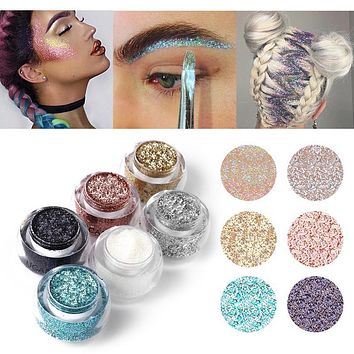 Ucanbe Brand Makeup Set 6 Colors Body Glitter Paste Shimmer Powder Silver Gold Color Diamond Gel Highlight Face Hair Make Up