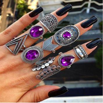 9 piece purple crystal midi knuckle boho rings