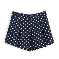 Polka Dot Skort With Box Pleat Front