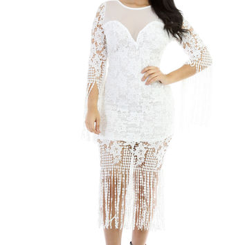 All that Fringe Midi Dress (Off White)