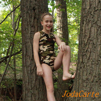 Gymnastics Girls Leotards --  Camouflage Green/Brown/Black (Girls' Sizes)