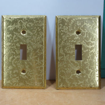 Embossed Goldtone Metal Light Switch Covers • Hollywood Regency • Gold Tone Switch Plate • Set of 2 Vintage Switch Plates