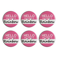 Rainbow Hello My Name Is Plastic Resin Button Set of 6