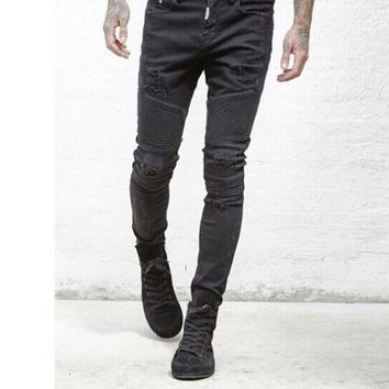 men jeans skinny Strech Distressed kanye west designer brand hip hop hole men's streetwear swag denim pants