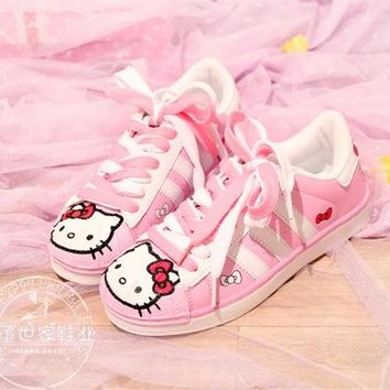 Lolita Japanese Cute Cat Flat Heel Sports Running Shoes Pink for Student Cosplay