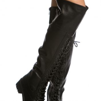 Black Faux Leather Lace Up Knee High Combat Boots @ Cicihot Boots Catalog:women's winter boots,leather thigh high boots,black platform knee high boots,over the knee boots,Go Go boots,cowgirl boots,gladiator boots,womens dress boots,skirt boots.