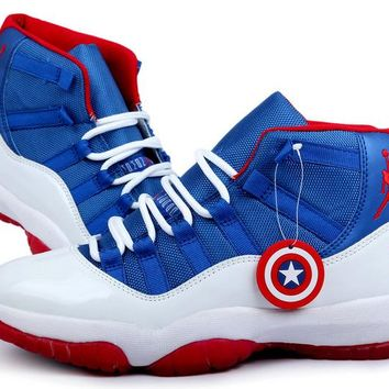 [Free Shipping ]Nike Air Jordan Captain America Series Basketball Sneaker