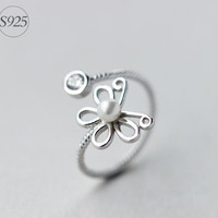 925 Sterling silver opening ring,silver butterfly ring,elegant pearl ring,a perfect gift