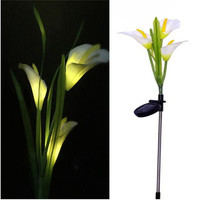 3LED Solar Powered Lily Flower Stake Garden Yard Light Landscape Outdoor Decor