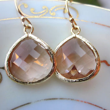 Large Champagne Blush Earrings Gold Plated Large Peach Pink Pendant - Wedding Earrings - Bridal Earrings - Bridesmaid Earrings