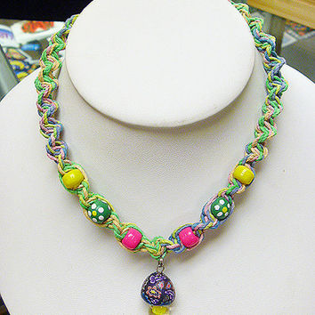 Easter Blend and Flowers Hemp Necklace with Fimo Glass Mushroom    handmade macrame jewelry    hippie  girls