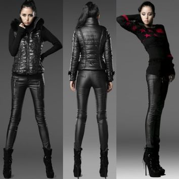 Black Faux Leather Low Rise Slim Fit Punk Goth Pants Leggings Women SKU-11404229