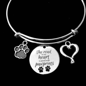 The Road to My Heart is Paved with Paw Prints Expandable Charm Bracelet Dog Cat Jewelry Silver Adjustable Wire Bangle One Size Fits All Gift Pet Lover Jewelry