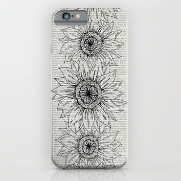 Sunflower Sketch iPhone & iPod Case by JustV