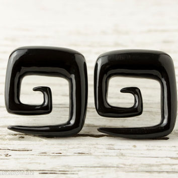 "Spiral Gauges Black Horn Earrings Square Shape   16g 14g 12g 10g 8g 6g 4g 2g 0g 00g 1/2""  Expanders - GA009 H G1"