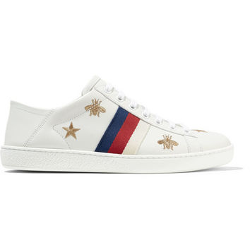 Gucci - Ace embroidered leather collapsible-heel sneakers