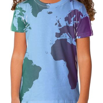 Cool World Map Design Toddler T-Shirt Dual Sided All Over Print