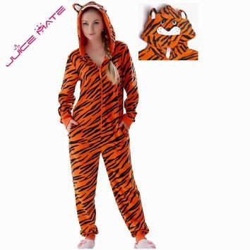 Plus Size Fleece Tiger Pyjamas Women Stitch Onesuit Animal Costumes Jumpsuits Couple Coverall Pajamas Onesuit For Adult Kingurumi