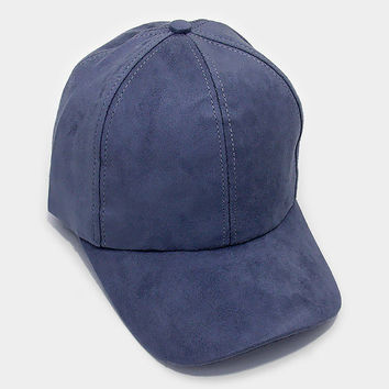 Navy Blue Faux Suede Baseball Cap With Velcro Closure, One Size Fits All, Unisex Gift Idea