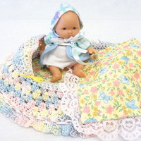 nursery colors hand crocheted, baby doll, church purse, cradle purse, quiet book, pastels, little girl, BG#15