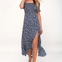 Fleur-tation Navy Blue Floral Print Off-the-Shoulder Midi Dress
