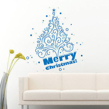 Christmas Tree Decorations Wall Decal Stickers Holiday Home Door Vinyl Art MR850