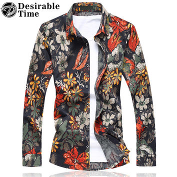 Mens Hawaiian Floral Shirts Fashion Autumn Long Sleeve Red Shirt Men