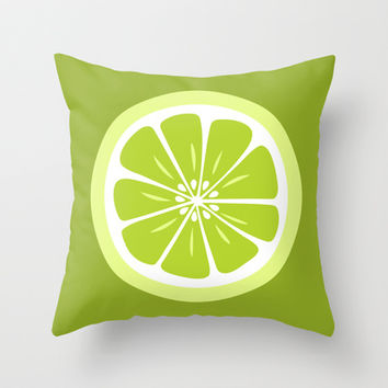Lime Fruit Slice Summer Fun Throw Pillow by Papel y Pastel | Society6
