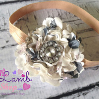 Creme Caramel Shabby Chic Baby Headband, Newborn Headband, Couture Baby Headband, Birthday Headband, Photography Props,  Little Lamb Shop