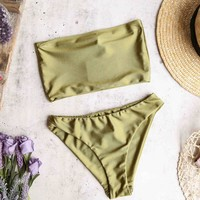 reverse - mess around bandeau bikini set - olive shine