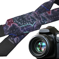 Black World Map Camera Strap. DSLR/SLR Camera Strap with pocket. Camera accessories. Great gift for photographer.