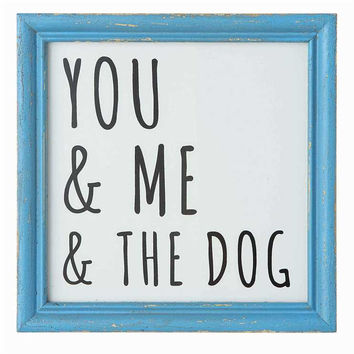 You and Me and the Dog Wall Decor Blue Wood Framed 8-in Square