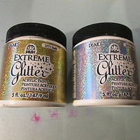 PLAID EXTREME GLITTER - ACRYLIC PAINT - LOT OF 2 JARS SILVER & GOLD 1 NEW 1 USED