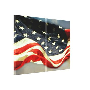 American Flag 2-Panel Wrapped Canvas Print