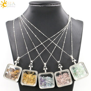CSJA Natural Stone Rose Quartz Citrine Fluorite Crystal Chip Clear Glass Square Box Wishing Bottle Pendant Necklace Jewelry E044