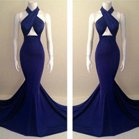 FABULOUS HALTER DESIGN ROYAL BLUE LONG MERMAID DRESS