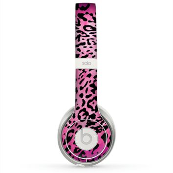 The Hot Pink Cheetah Animal Print Skin for the Beats by Dre Solo 2 Headphones