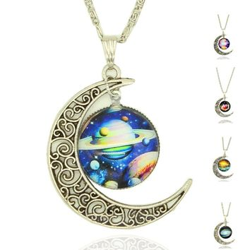 Glass Galaxy Lovely Moon Necklaces Pendants