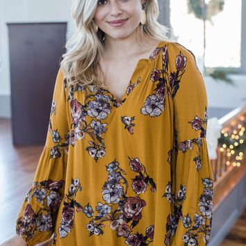 Becky Floral Blouse, Mustard