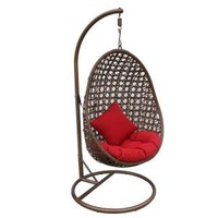 JLIP, Brown Rattan Patio Swing Chair with Stand and Red Cushions, S1682-1-A2 at The Home Depot - Mobile