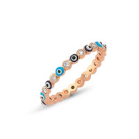 Amorium Rose Gold Plated Sterling Silver Evil Eye Ring