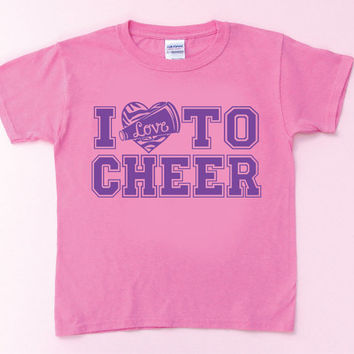 I Love to CHEER Kids T-Shirt, with free Hair Bow!