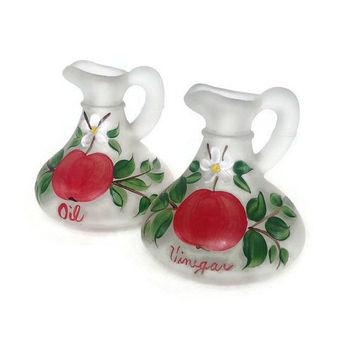 Vintage Hazel Atlas, Cruet Set, Gay Fad, 1950's Frosted Glass, Oil and Vinegar, Apples- Red and Green, White Flowers-Mid Century Kitchen-