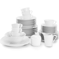 Elegant Simply White Square Banquet 45-Piece Dinnerware Serving Set