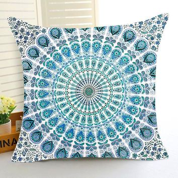 Comwarm Vintage Psychedelic Indian Hippie Mandala Style Flower Pattern Polyester Cushion Pillow for Sofa Car Seat Room Decor Art